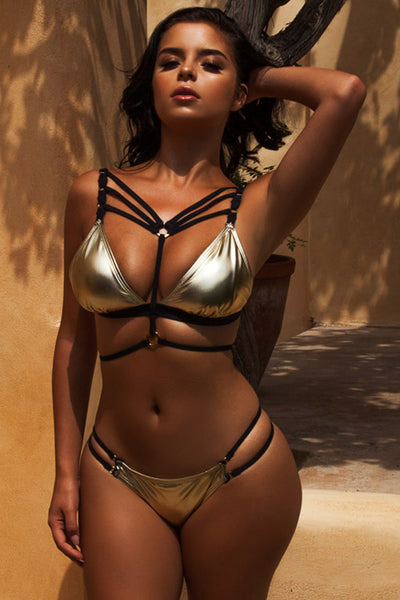 287695e7f2 Jett Gold Metallic Strappy Bikini Top