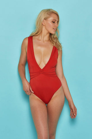 Red strappy swimsuit