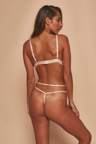 Grace Blush Embroidered Thong