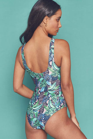 Palm printed twist swimsuit