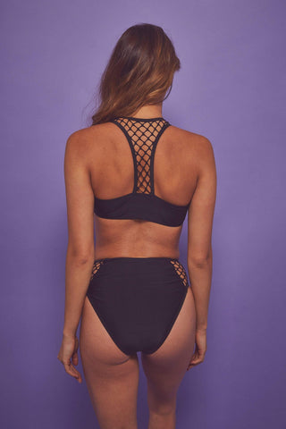 Fishnet Eco panel bikini top