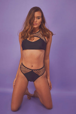 Fishnet Eco panel high waist brief
