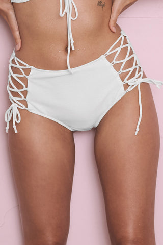 White textured lace up swimsuit B-F cups