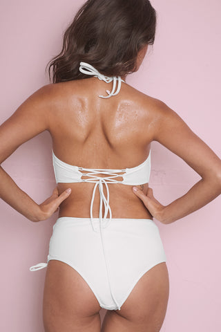 White textured lace up bandeau B-F cups