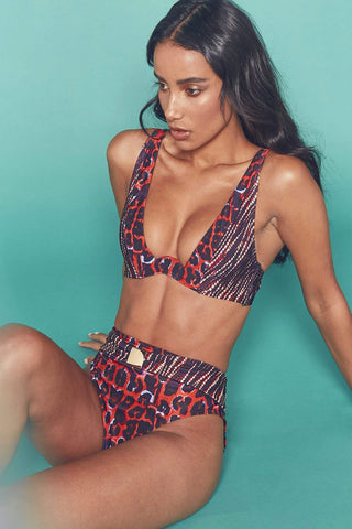 Leopard lace up swimsuit curve