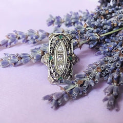 18k White Gold Edwardian Filigree Ring with Emeralds and Diamonds