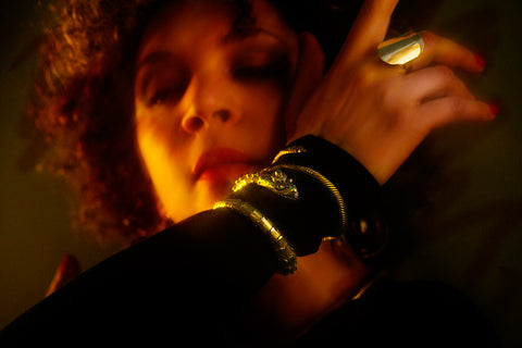 Sylvia Holden in two Icon Style serpent bracelets and Icon Style ring