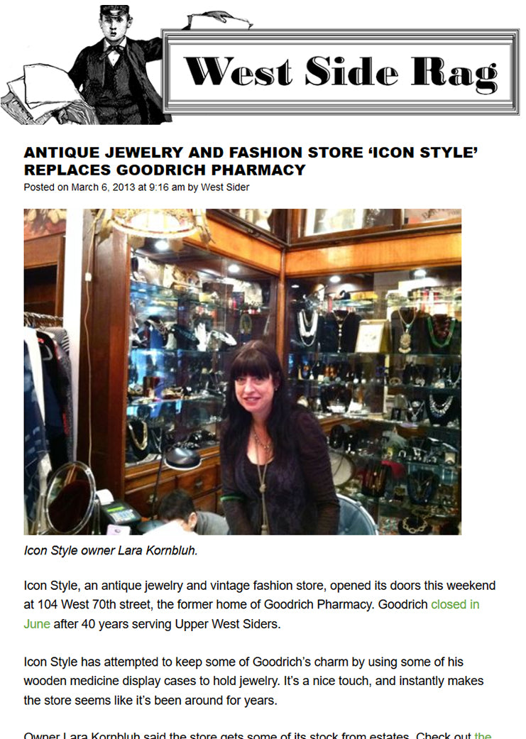 West Side Rag article featuring Icon Style