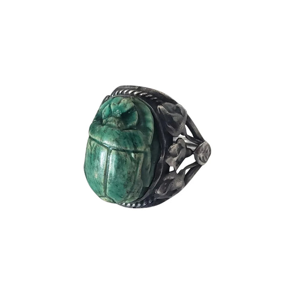 1920s Egyptian Revival Sterling Silver Faience Scarab Ring