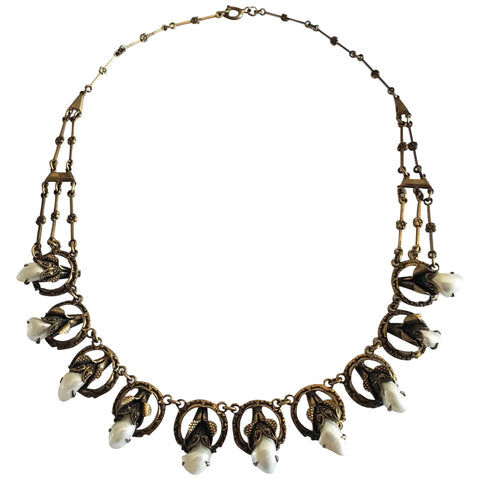 1920s Gilt Brass and Mississippi Pearl Necklace