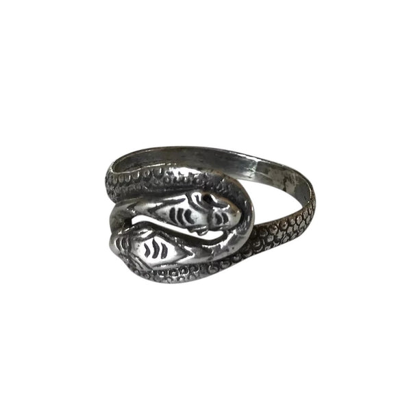 1920s Sterling Silver Two Headed Snake Ring