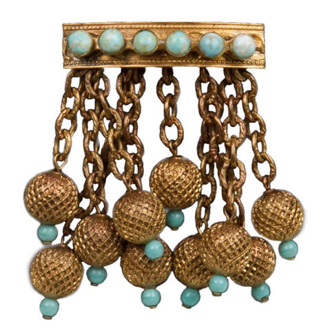 "1930s Etruscan Revival Gilt Brass & ""Turquoise"" Czech Glass Brooch"