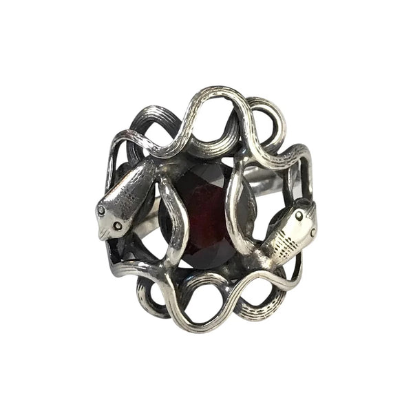 1930s Two Headed Snake Ring in Sterling Silver with Garnet