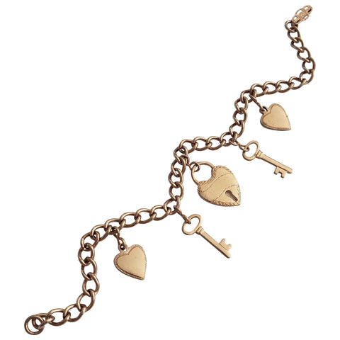 1940s Rose Gold Filled Heart and Key Charm Bracelet