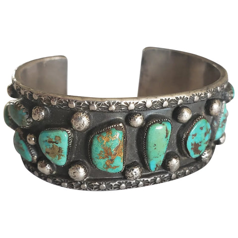1950s Native American Old Pawn Sterling Silver and Turquoise Cuff Bracelet