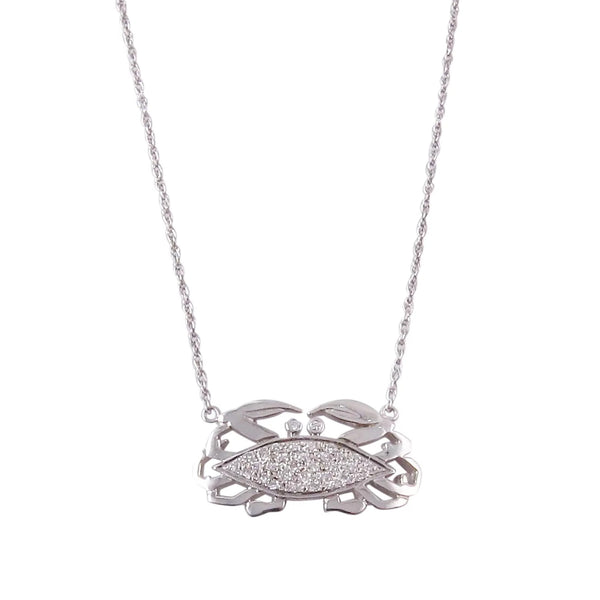 1960s 14k Gold and Diamond Zodiac Crab Necklace