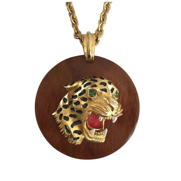 1970s Florenza Wood and Enamel Panther Necklace