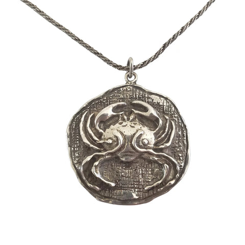 1970s Mid-Century Modern Sterling Silver Zodiac Cancer Crab Pendant Necklace