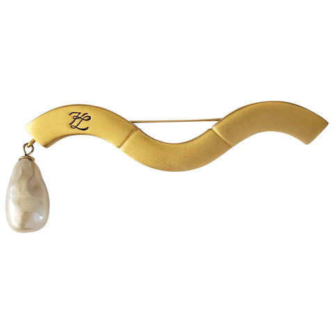 1980s Karl Lagerfeld Gold-Tone Satin Finish Brooch with Faux Pearl Drop