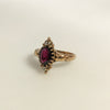 Circa 1890 Ripley-Howland Mfg Co. 10k Gold Rhodolite Garnet and Rose Cut Diamond Navette Ring