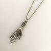 1930s Handwrought Silver Hand Charm Necklace