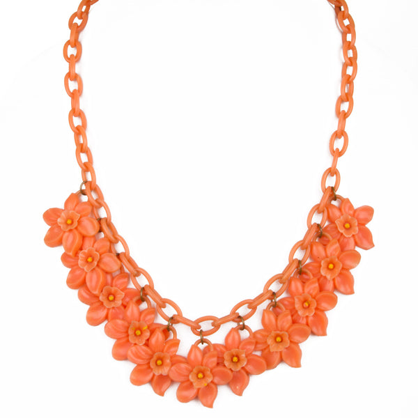 1940s Coral Daffodils Celluloid Necklace