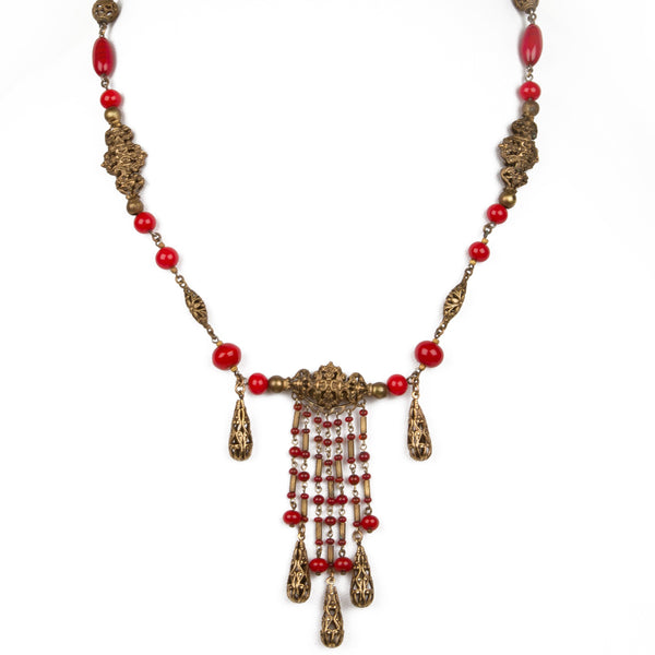 1930s Red Czech Glass and Filigree Bib Necklace