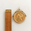 Victorian Fob Charm with 22k Gold Liberty Coin in 14k Frame