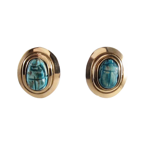 Antique Egyptian Faience Scarab Earrings in Handwrought 14k Gold Settings