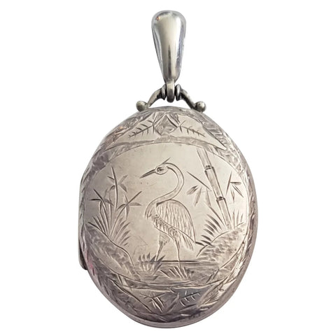 Circa 1885 Victorian Aesthetic Movement Hand Engraved Sterling Silver Locket with Crane