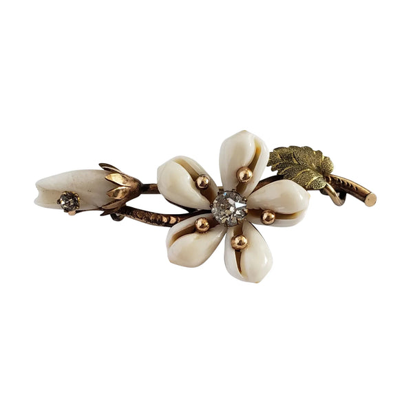 Circa 1860 Early Victorian Cowrie Shell Green and Yellow Gold-Filled Flower Brooch