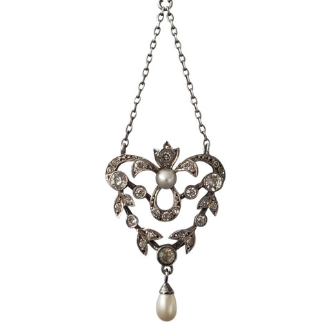 Circa 1870 French Belle Epoque 800 Silver and Paste Necklace with Faux Pearls