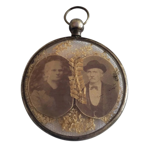 Rare Circa 1870 Victorian Mourning Memorial Pendant with Photographs and Foliage