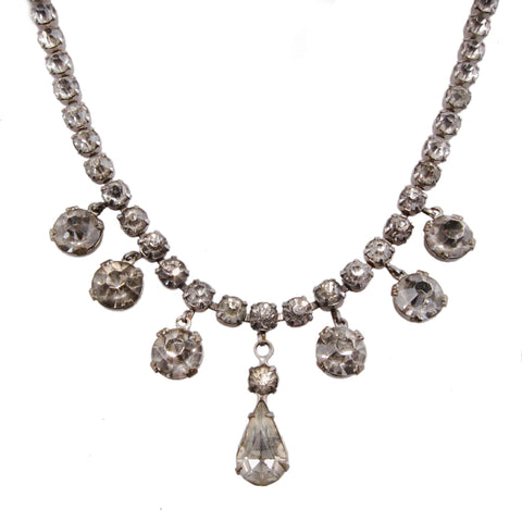 Art Deco Rhinestone Drop Necklace