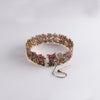 Retro Sapphires, Emeralds, & Diamonds Floral Bracelet in 14K Rose Gold