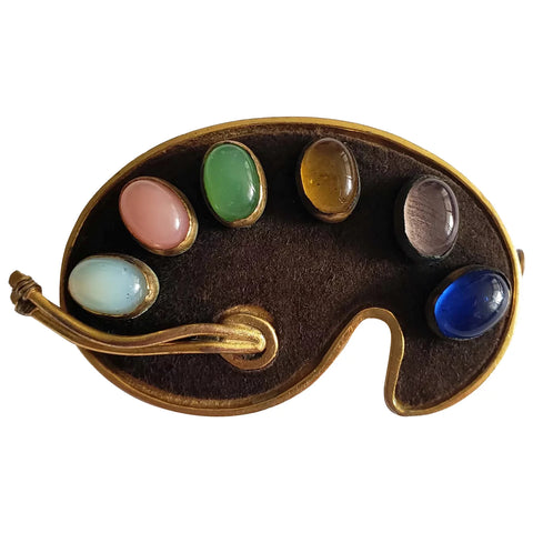 Late 1940s French Plaire Artists Palette Brooch