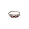 Late Victorian Sterling Silver Baby Ring with Ruby Red Brilliants