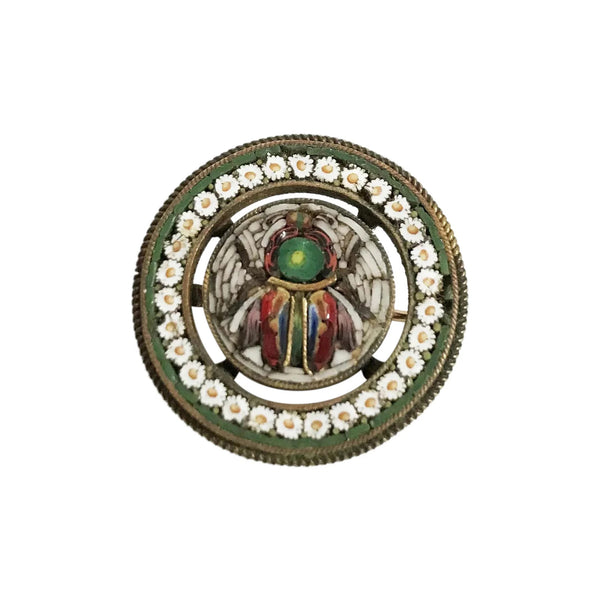 Mid 19th Century Egyptian Revival Micromosaic Beetle Brooch