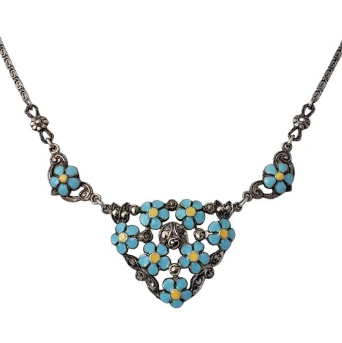 Unusual 1930s Italian Sterling Silver, Enamel, and Marcasite Forget-me-not Necklace