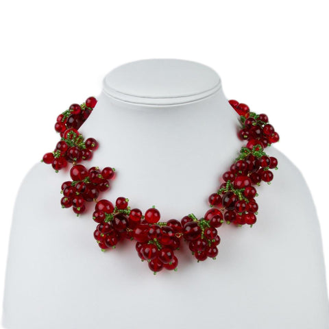 Rare 1950s Miriam Haskell Red Currants Necklace