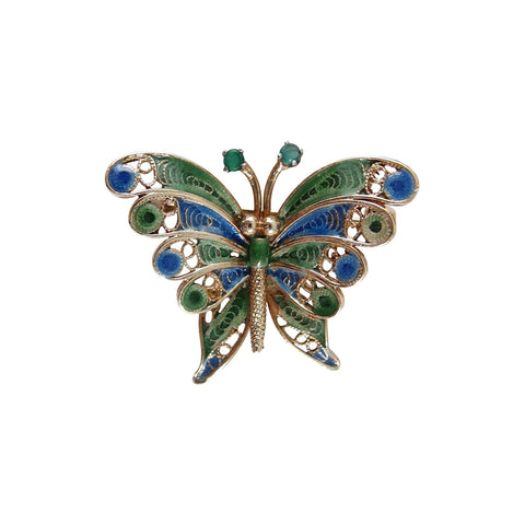 1960s 14K Gold Butterfly Brooch Filigree, Enamel, and Emerald Antennae