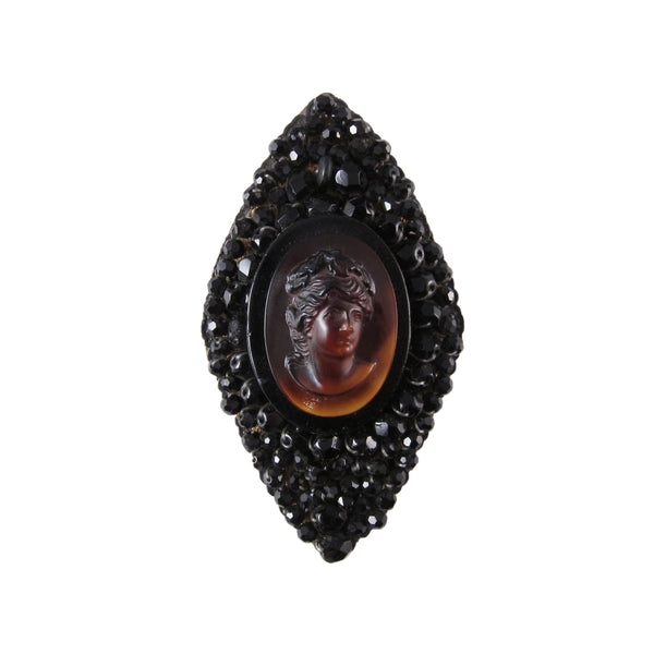 1980s Artisan Cameo Brooch in French Jet and Tortoise Glass
