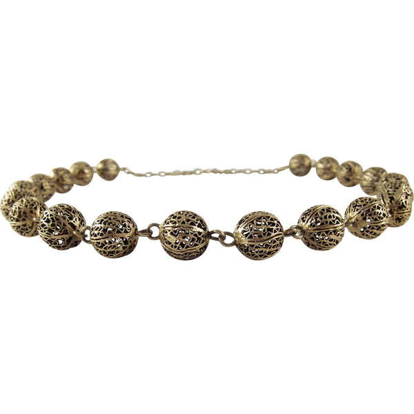 1930s Sterling Silver Vermeil Filigree Bead Necklace