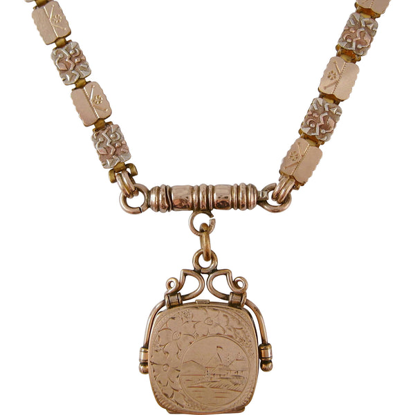 1870s Victorian Reversible Tricolored Gold Filled Bookchain & Locket