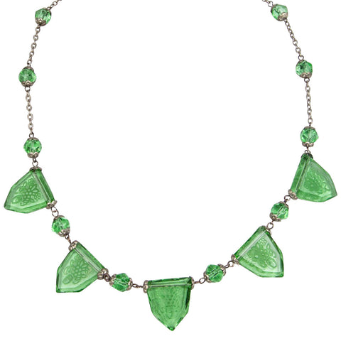 1920s Art Deco Green Reverse-Carved Czech Glass Necklace