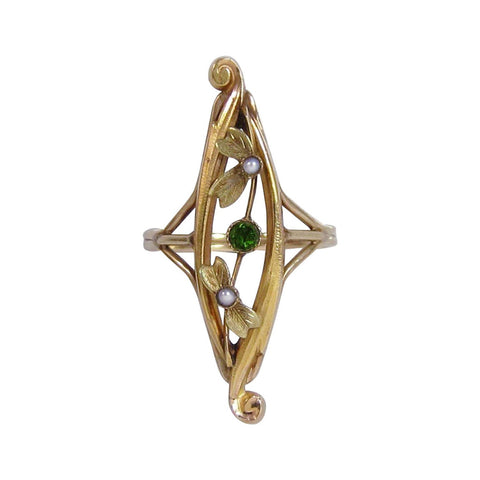 Art Nouveau 14K Gold Floral Navette Ring with Tourmaline and Pearl