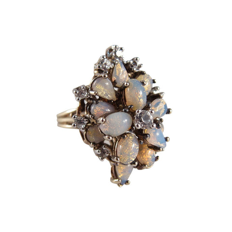 "1960s Panetta Vermeil ""Opal"" Glass and Rhinestone Cocktail Ring"
