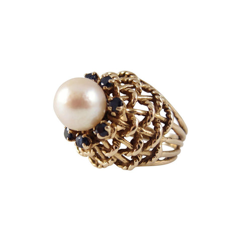 1960s 14K Gold Cultured Pearl and Sapphire Basket Weave Cocktail Ring