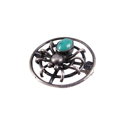 1930s Sterling Silver and Turquoise Spider Brooch