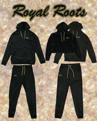 Royal Roots Grassroots Black Velour Sweatpants Joggers Crop Hoodie